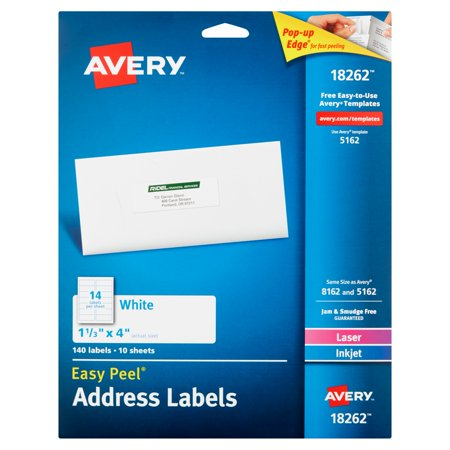 Avery 18262 White Laser Inkjet Easy Peel Address Labels Sheets  10 Count