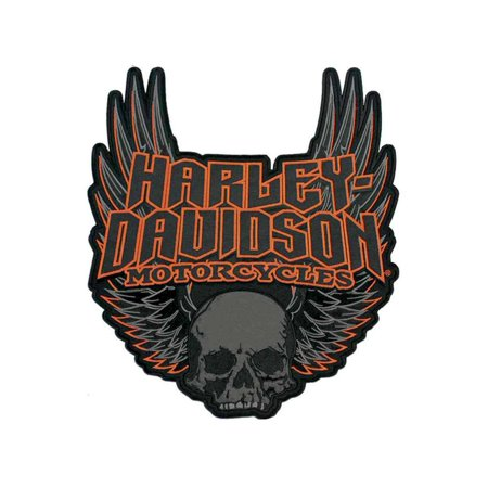 Embroidered Emblems - Harley-Davidson Gothic Winged Skull Embroidered Emblem, 3XL Size Patch EM108307, Harley Davidson