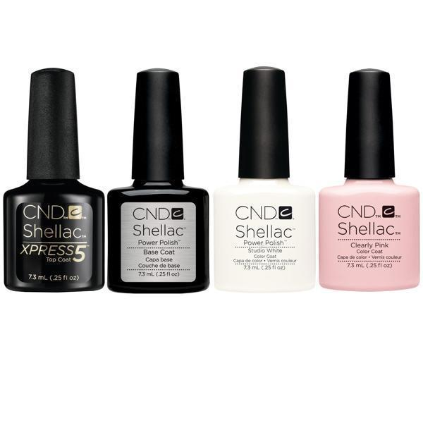 CND SHELLAC FRENCH MANICURE COLLECTION - Base + Xpress5 Top + Studio White + Clearly Pink * 4 CT .25oz each*