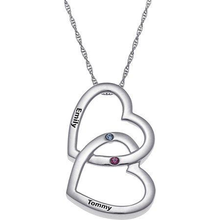 sterling of double heart with diamonds tw carat silver pendant in