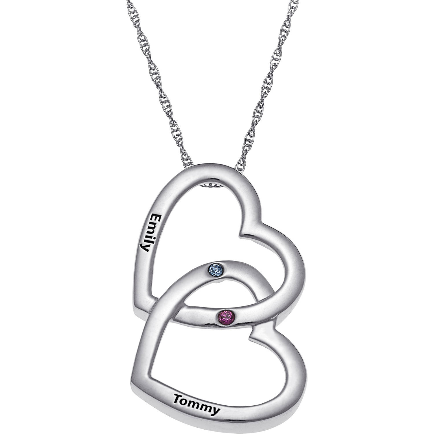 necklace pendant diamonds double heart image hot silver jewellery