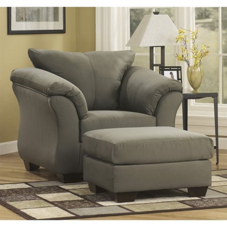 Superb Ashley Darcy Fabric Chair With Ottoman In Sage Ibusinesslaw Wood Chair Design Ideas Ibusinesslaworg
