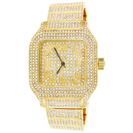 Mens Techno Pave Square Roman Dial Stainless Steel Back Bling Watch