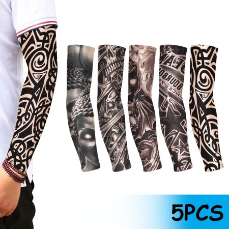 10/5Pcs Cooling /Tattoos Arm Sleeves Sun UV Protection Cover, EEEkit UV Protection Cooling Arm Sleeves for Men Sunblock Protective Gloves Women Cycling Sun Sleeves thumbnail