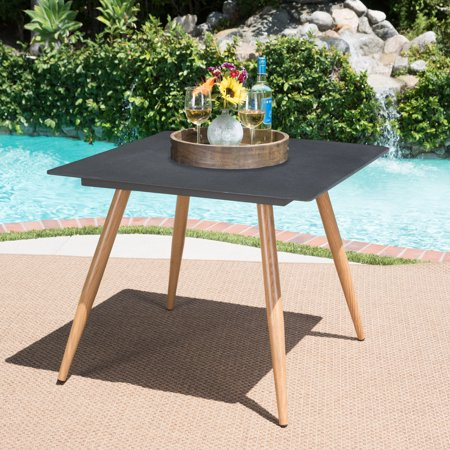 Image of Carson Outdoor Square Stonelike Glass Dining Table with Wood Finished Metal Legs, Dark Grey