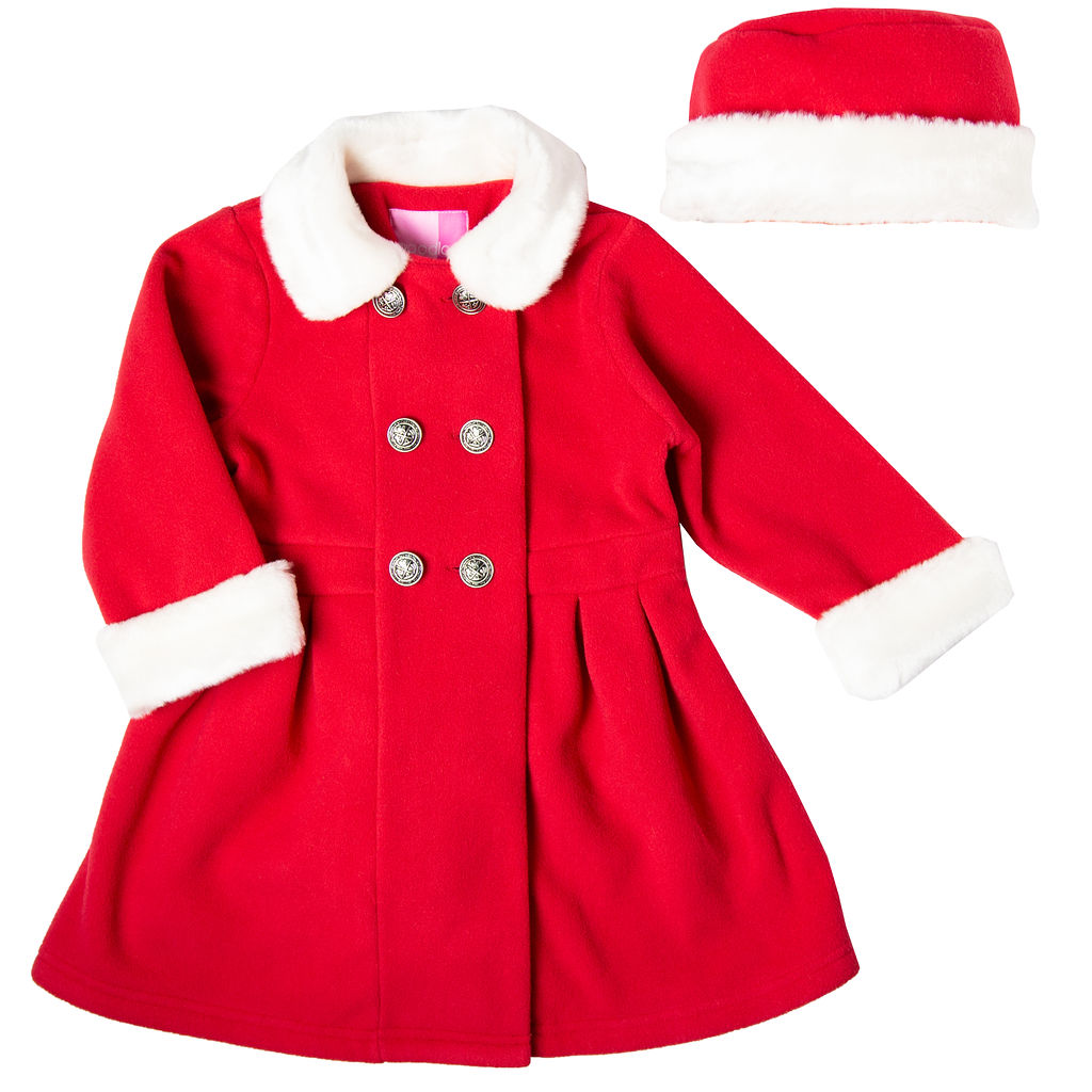 Good Lad Toddler & 4/6X Girls Red Double Breasted Fleece Coat with Fur Collar and Cuffs and Matching Hat