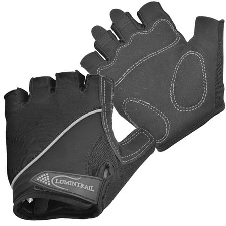Lumintrail Shock Absorbing Half-Finger Riding Cycling Gloves Breathable Road Racing Bicycle Mens Womens Black Professional Bike Glove