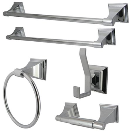 - Kingston Brass BAHK61212478C Kingston Brass Monarch Collection 5-piece Towel Bar Bath Hardware Set, Polished Chrome
