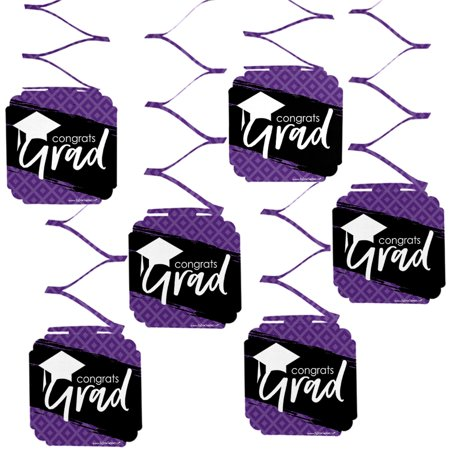 Purple Grad - Best is Yet to Come - Purple Graduation Party Hanging Decorations - 6 Count
