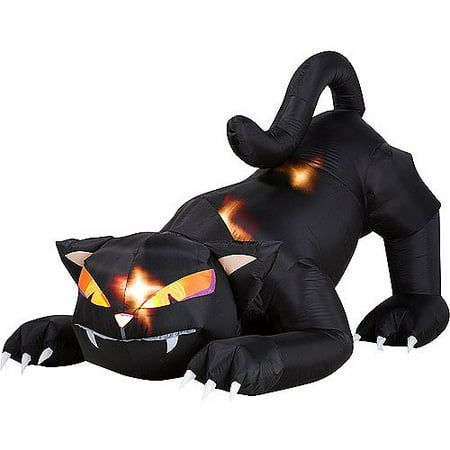5 ft. Animated Airblown Halloween Inflatable Black Cat with Turning - Inflatable Halloween Cat Archway