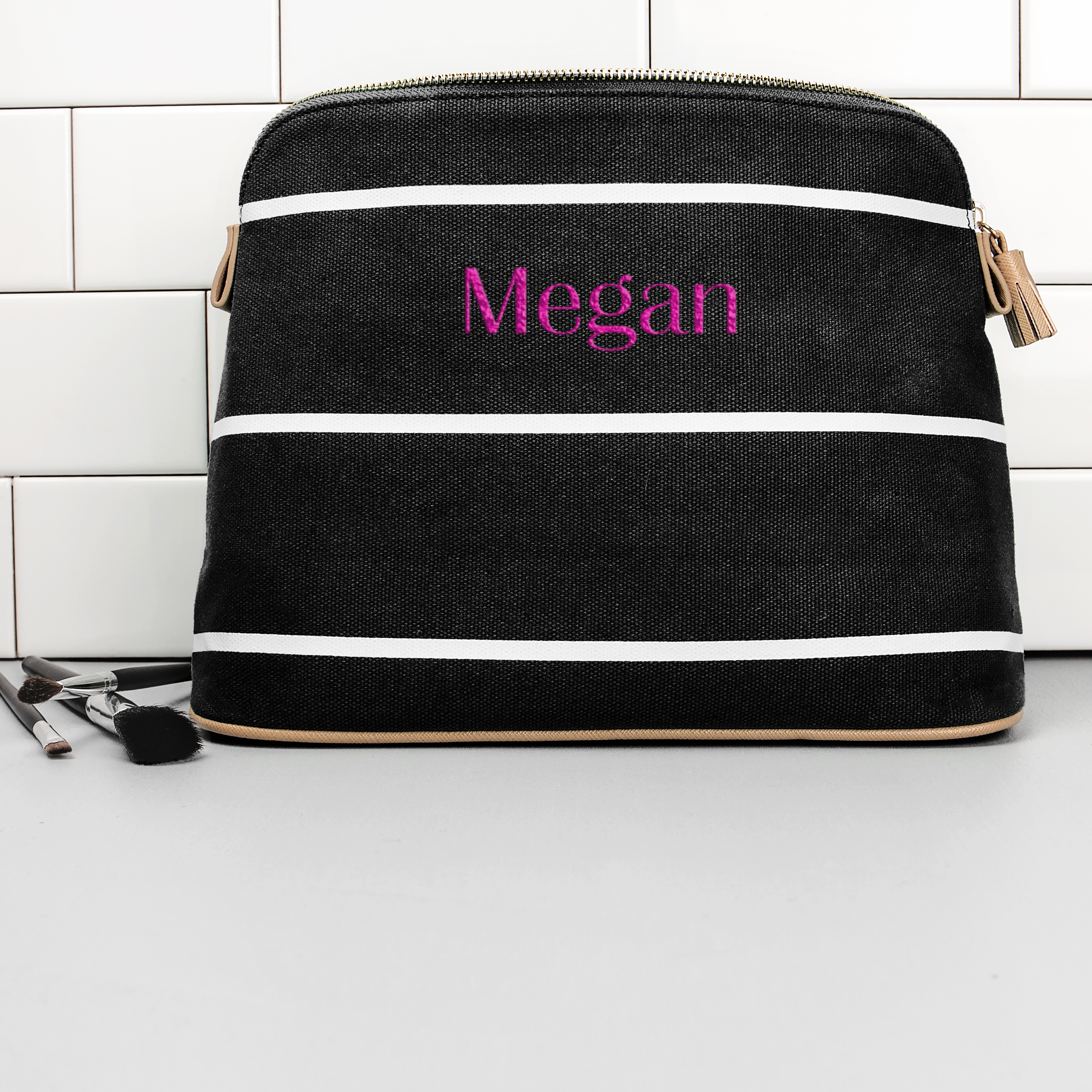 Personalized Striped Cosmetic Bag in Black