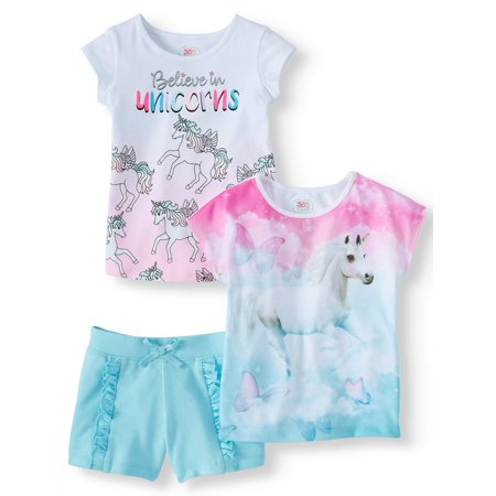 Graphic Tees & Short, 3-Piece Mix and Match Outfit Set (Little Girls & Big Girls) ()