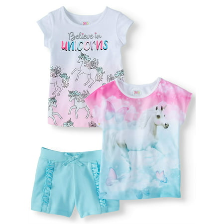 Graphic Tees & Short, 3-Piece Mix and Match Outfit Set (Little Girls & Big Girls)](Cop Outfits For Girls)