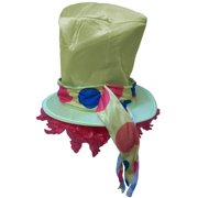 Adult's Hobo Clown Polka Dot Yellow Top Hat With Wig Costume Accessory