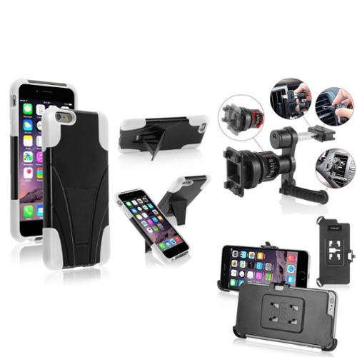 Insten Black/White Hard Stylish Hybrid Stand Case For iPhone 6S Plus / 6 Plus'' (with Car Air Vent Mount) (3-in-1 Accessory Bundle)