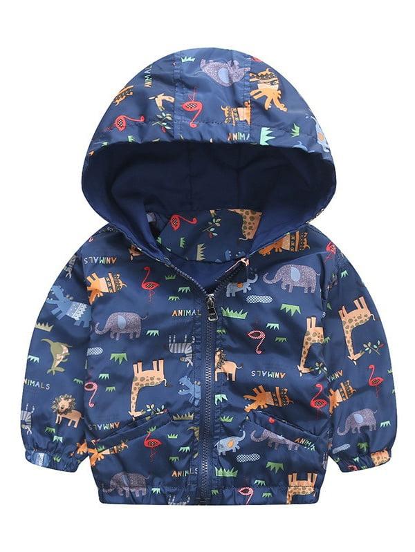 90-120cm Animal Baby Girls Jacket Active Hooded Outerwear Coats Boys Kids Children Clothing Giraffe Printing Jacket Windbreaker