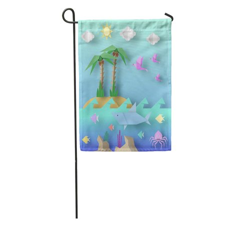 SIDONKU Origami Crafted Out of Cut Shark Palm Birds Fish Sun Garden Flag Decorative Flag House Banner 12x18 inch