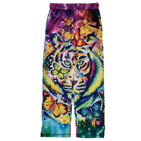 Mens Colorful Tie Dye Space Tiger Butterflies Lounge Pants Pajama (Tiger Lounge Pants)