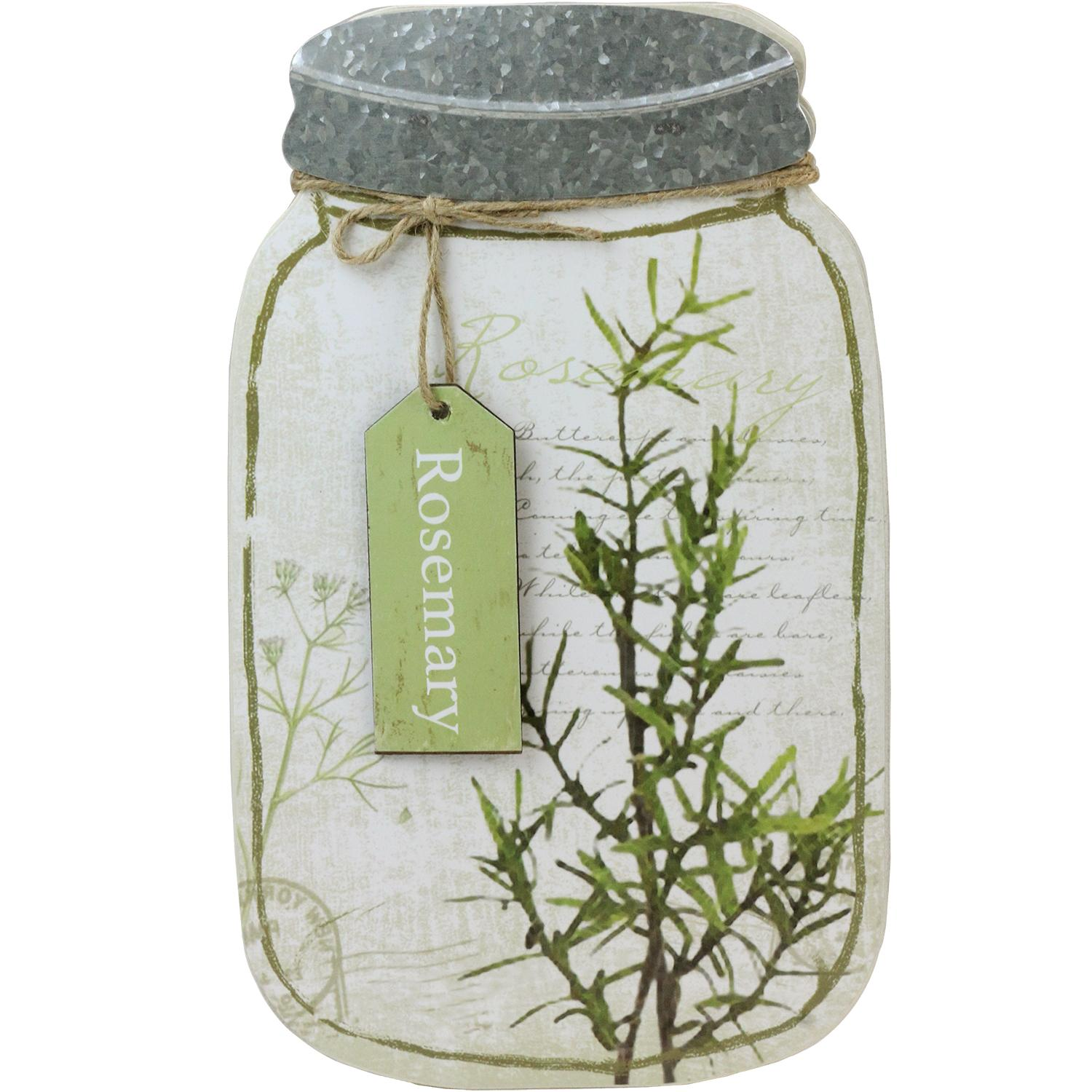 "14.25"" Decorative Rosemary Herb Mason Jar Wall Hanging Plaque by Melrose"