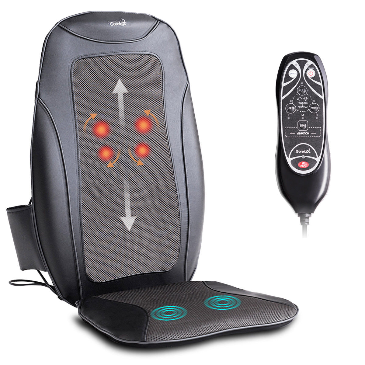 Gymax Shiatsu Massage Cushion Massager Chair Seat Vibration Rolling Heating Home Car