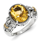 Shey Couture QTC854-6 14 mm Sterling Silver with 14K Gold Citrine Ring, Antiqued - Size 6