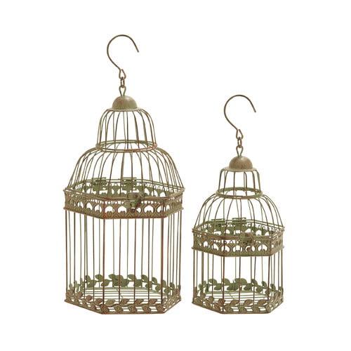 Woodland Imports 2 Piece Floral Pattern Decorative Bird Cage
