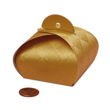 "Gold Tulip Favor Boxes 2"" X 2"" 