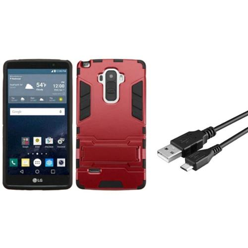 Insten Hard Hybrid Rugged Shockproof Rubber Silicone Case with Stand For LG G Stylo - Red/Black (+ Micro USB Cable)