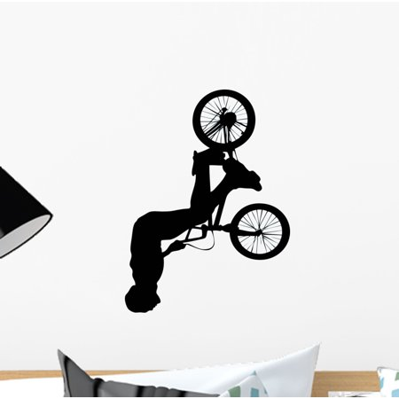 Spinning Jump Bmx Silhouette Wall Decal Sticker, Wallmonkeys Peel & Stick Vinyl Graphic (12 in H x 9 in W (Jumping Vinyl Decal)