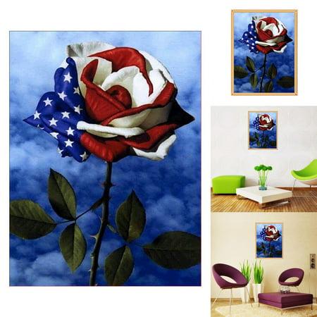Girl12Queen American Flag Design Rose 5D Art Diamond Painting Cross Stitch Craft Decor Gift