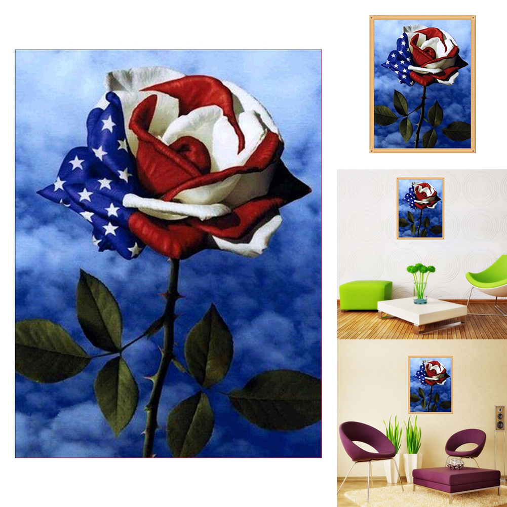 Girl12Queen American Flag Design Rose 5D Art Diamond Painting Cross Stitch Craft Decor Gift