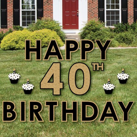 Adult 40th Birthday - Gold - Yard Sign Outdoor Lawn Decorations - Happy Birthday Yard Signs (Happy Sign)