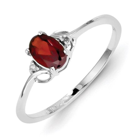 Primal Silver Sterling Silver Rhodium Diamond and Garnet Oval Ring