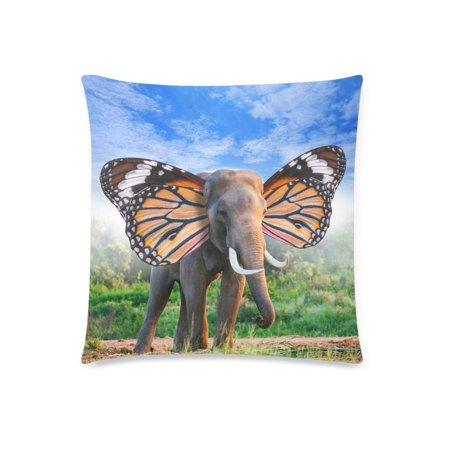 ZKGK Fantasy Elephant with Beautiful Butterfly Wings Home Decor, Soft Cotton Pillowcase 18 x 18 Inches,Animal in the Forest Green Grass Pillow Cover Case Cushion Shams Decorative