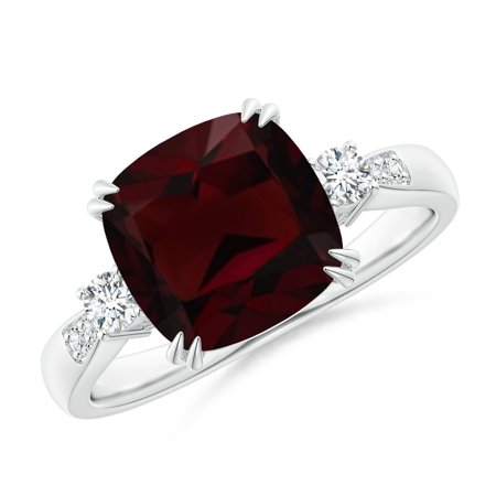 Valentine Jewelry Gift - Cushion Garnet Solitaire Ring with Diamond Accents in 14K White Gold (9mm Garnet) -