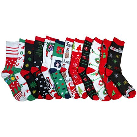 12 pair newly created christmas holiday socks sock size 9 11 - Walmart Christmas Socks