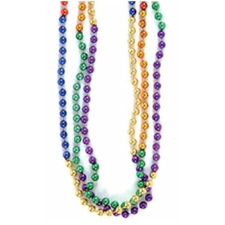 Rainbow Mardi Gras Bead Necklaces (1 dz), 12 pack of Rainbow Bead Necklaces By Bestway Store Ship from US for $<!---->