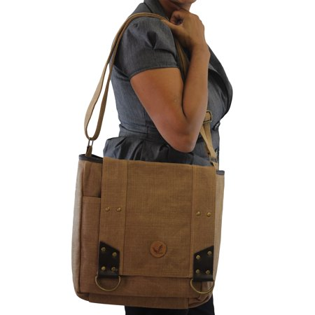 Stylish Jute-Cotton Heavy Duty School College Work Travel Fold over Flap Messenger Bag ()