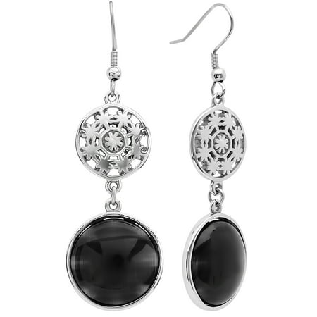 Women's Stainless Steel and Black Glass