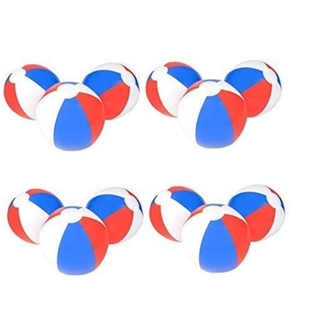 Red And White Beach Ball ((12) 12'' PATRIOTIC Beach Balls ~ RED WHITE & BLUE Beach Ball Inflates ~ Patriotic Beachballs ~ Pool Decor Favor Water Outdoor Birthday Fourth July Wedding Celebration ~ 4TH Independence)