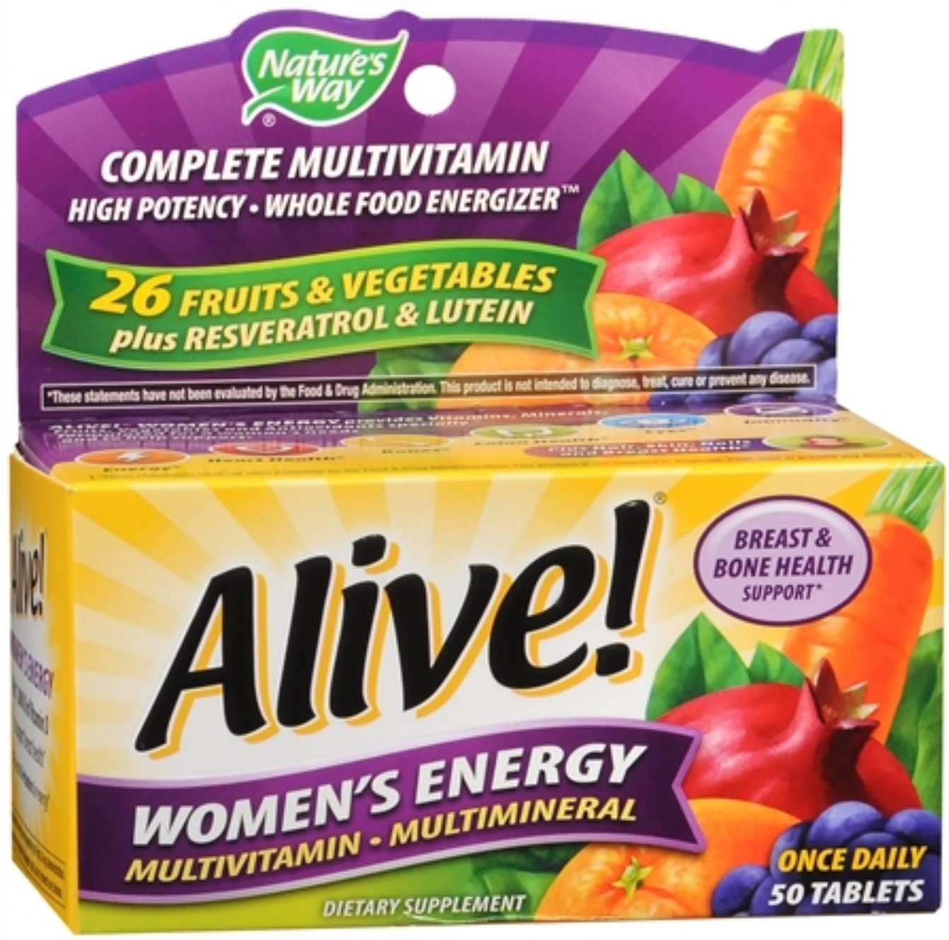 Alive! Tablets Women's Energy 50 Tablets (Pack of 4)