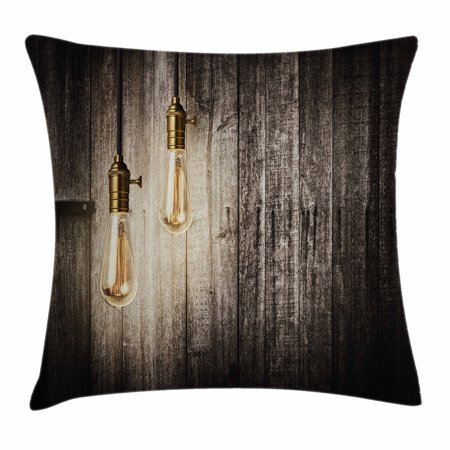 Industrial Decor Throw Pillow Cushion Cover, Historical Innovation Edison Revival Retro Electricity Wooden Planks, Decorative Square Accent Pillow Case, 16 X 16 Inches, Black White Gold, by Ambesonne](Black And Gold Retro 1)