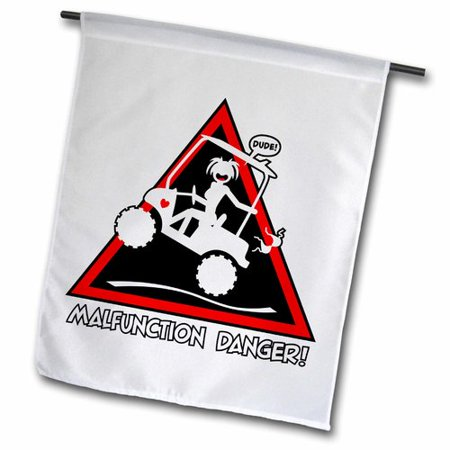 3dRose malfunction danger sign, stickgirl and a golf cart experiencing a wardrobe malfunction, Garden Flag, 18 by 27-Inch - Halloween Wardrobe Malfunction