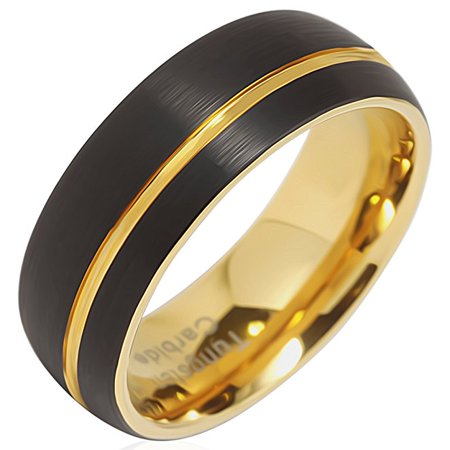 Tungsten Rings For Men Wedding Bands 14K Gold Plated Jewelry Brushed Black Size 8-16