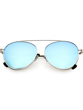 Product Image Oversize Round Aviator Sunglasses Metal Brow Bar Colored  Mirror Lens 60mm (Silver   Silver Mirror 95f97ecf315