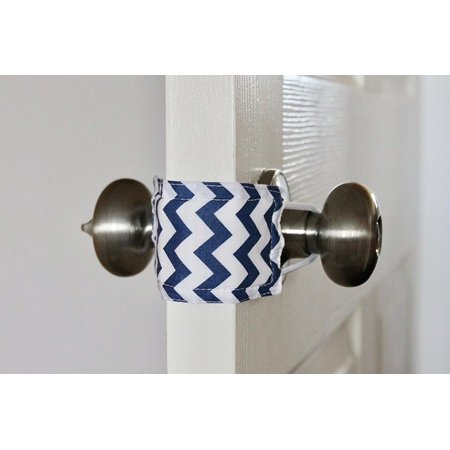 Latchy Catchy Door Latch Cover Jammer Noise Silencer Cushion - Navy Chevron (Door Latch Cover)