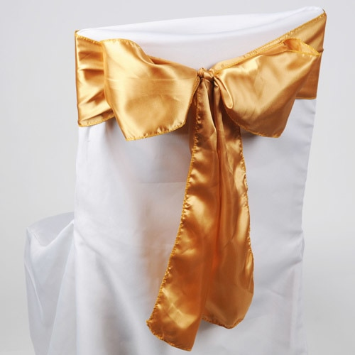 Old Gold - Satin Chair Sash - ( Pack of 10 Piece - 6 inches x 106 inches )