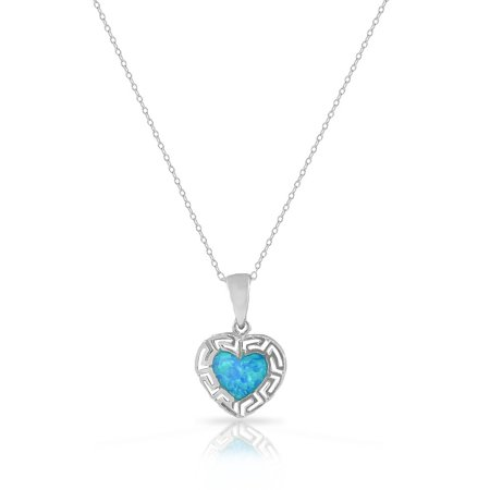 925 Sterling Silver Blue Turquoise-Tone Simulated Opal Love Heart Greek Key Pendant Necklace