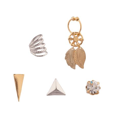 Lux Accessories Arrowhead Pyramid Arrow Head Dreamcatacher Cuff Multiple Stud Earrings Set Women's Girls & Kids