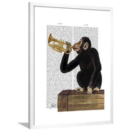 Monkey Playing Trumpet Framed Print Wall Art By Fab